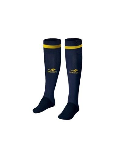 Lescon La-2172 Lacivert Sarı Futbol Çorabı 31-35 Numara Lacivert